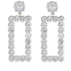 clear rhodium rectangle earring